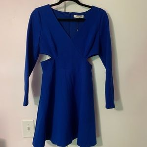 Halston Heritage Cobalt Blue Cut Out Dress